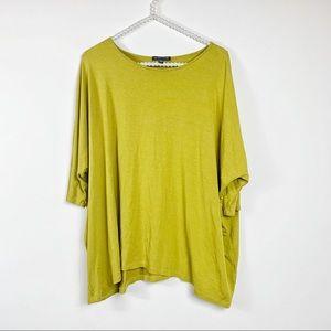 Eileen Fisher blouse S Green rayon lycra dolman